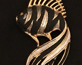 Vintage Brooch Fish Gold and Black Vintage Pin