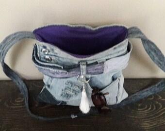 Denim Crossbody bag light weight purse denim handbag denim bag upcycled denim bag abstract purse abstract style denim purse unique denim bag