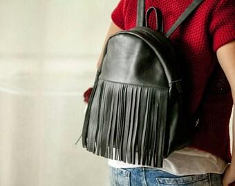 Black leather backpack bag
