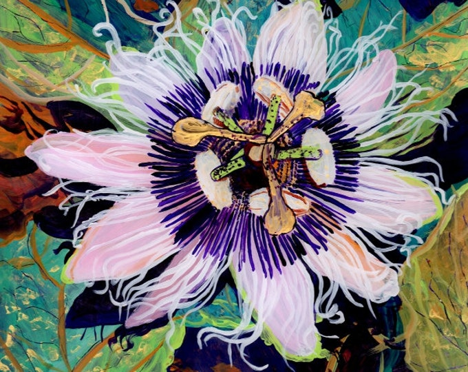 Lilikoi Passion Flower  8x8  Giclee Art Print from Kauai Hawaii by Marionette Passiflora purple gold home decor Hawaiian Wall Art Fruit