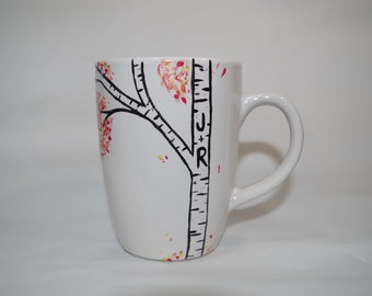 Personalized Birch Tree Coffee Mug / Personalized Couple Initials Cup