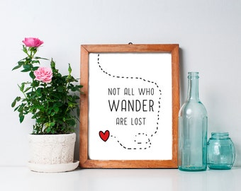Not All Who Wander Are Lost - 8x10, Inspirational Quote, Printable Art, Inspirational Art, Tolkien Quote, Wall Art