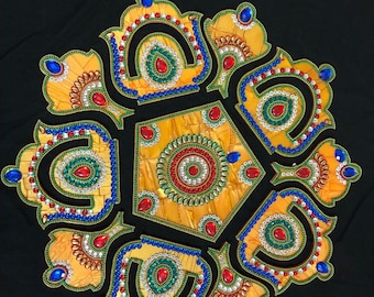 Rangoli - Decorative pattern tile - Yellow
