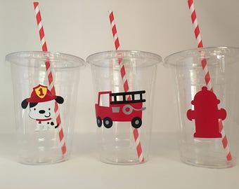 Fireman party cups, fire truck party cups, Fireman birthday party
