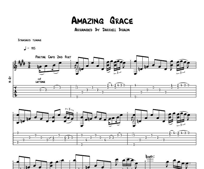 Amazing Grace Celtic Acoustic Guitar Sheet Music