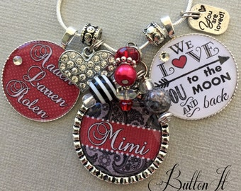 Grandma gift, Grandma Jewelry, Mom jewelry, Nana jewelry, Mother's day, family is everything, PERSONALIZED gift, love you to the moon back
