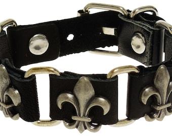 Black Leather Fluer De Lis Bracelet - Five Fluer De Lis