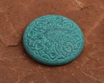 Button  flat on back , 36mm, plated mint patina finish, 4 each 9557