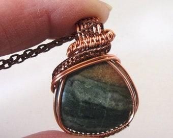 Wire Wrapped Necklace, Copper Wire Wrapped Pendant, Natural Stone, Jasper Stone
