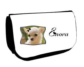 Cosmetic case Black /crayons Chihuahua personalized with name