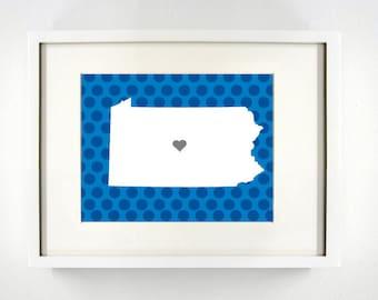 State College, Pennsylvania Giclée Map Art Print  - 8x10 - Graduation Gift Idea - Dorm Decor