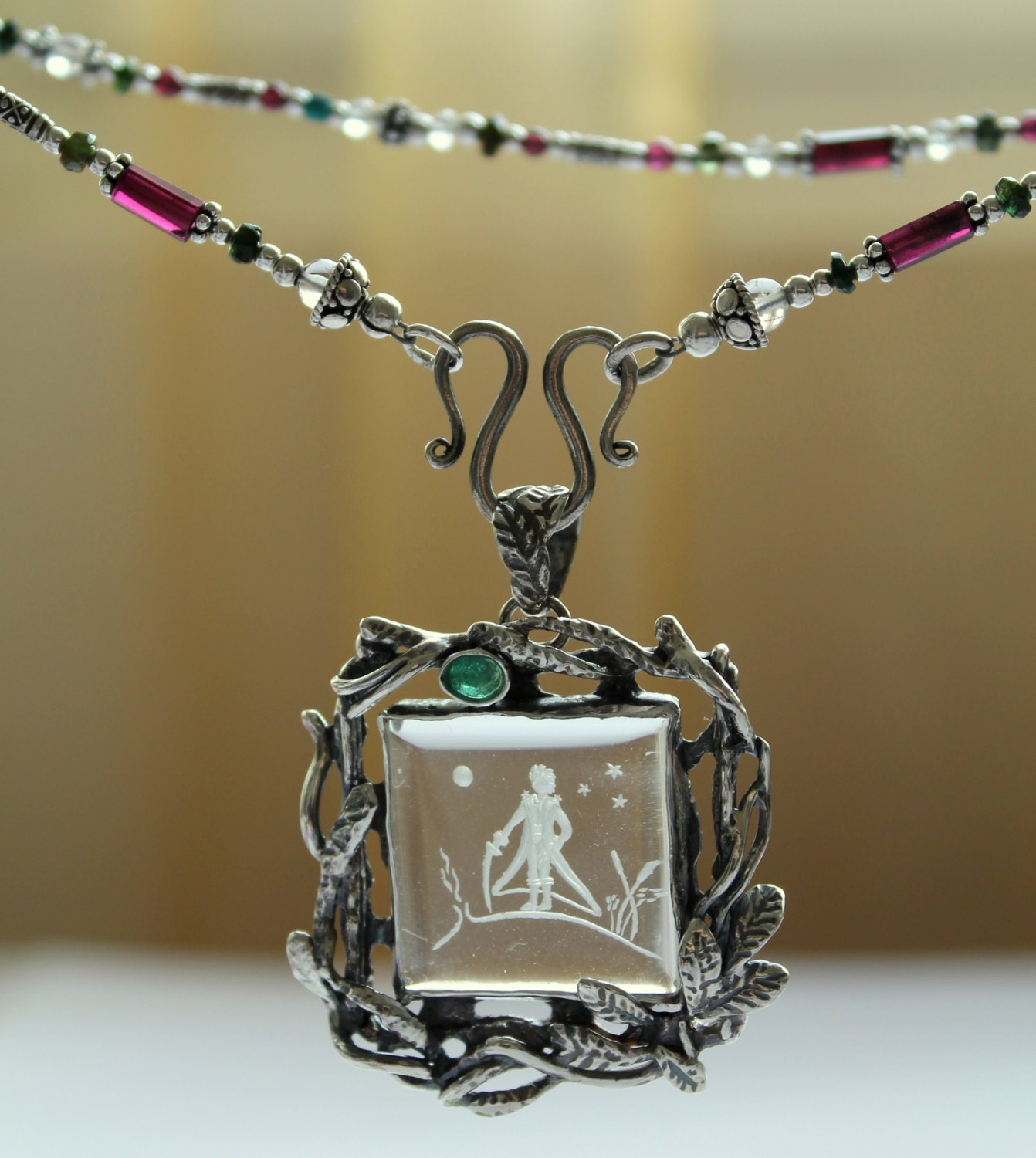 necklace expand click item davis intaglio green whiting unicorn rl glass to full pendant