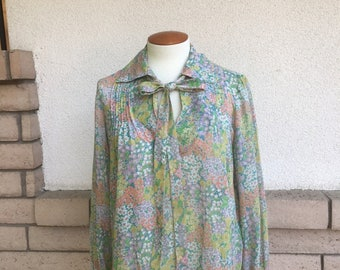 Vintage Sheer Floral Blouse 1970's Calico Ascot Pintuck Tunic Top Size M-L