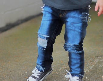 Asher jeans - baby , toddler , kids - Boy's skinny OR straight fit hand - distressed (Sizes 6m-12y) ( denim , trendy  pants - girls and boys
