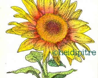 Sunflower Splendor Upcycled Library Card Print