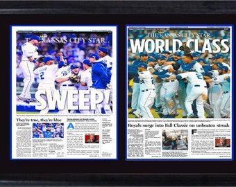 12x18 Double Newspaper Frame - Kansas City Royals Champions