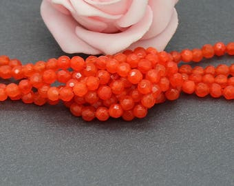 Agate faceted 4 mm orange color PG126 20 beads