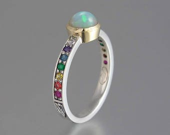 DAPHNE silver & 14k gold Opal ring with rainbow gems