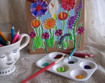 Flower field shetchbook, mixed media, spiral.