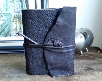 "Slim Leather Journal - Dark Brown Journal 4.5"" x 6"" by The Orange Windmill 1737"