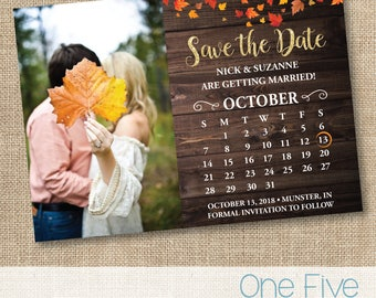 Fall Rustic Wedding Save The Date, Autumn Leaves, Calendar, Country Chic - Printable (5X7)
