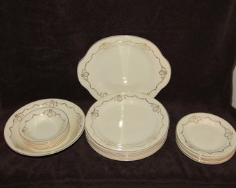 Vintage Edwin Knowles Semi Vitreous Dinner Set, Plates, Bowls, Service for 5, Dinnerware, Dining, Tableware,Place Setting for 5
