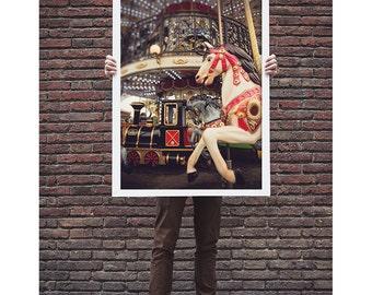 carousel print, paris photography, travel photography, horse, france, paris home decor, brown, red / carousel horse / 8x12 fine art photo
