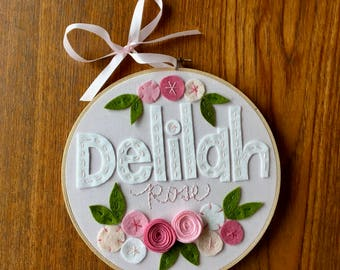 """8"""" FELT NAME GIRLS- Personalized Girl's Name Embroidery Hoop Art made with Felt Flowers and Fabric by Miss Tweedle"""