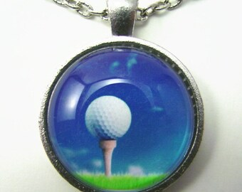 GOLF BALL on the TEE Necklace --  Golf art,  Gift for lady or gentleman golfer, Blue sky, green grass