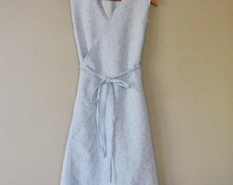 Upcycled Wrap Dress/Powder Blue Sleeveless Wrap/Handsewn Wearable Art