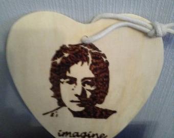 John Lennon on birch wood heart