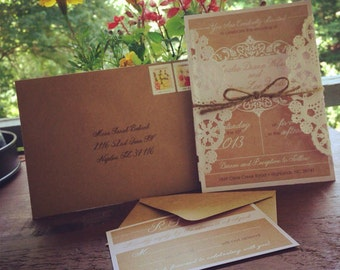 Set of 50 Vintage Country Wedding Invitations & RSVPs