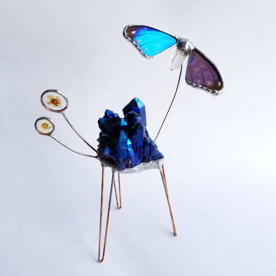 Titanium Aura Crystal Display / Blue Morpho Butterfly /Crystal Display / Crystal Decor / Sculpture