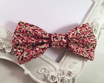 Sevenberry fabric Butterfly bow brooch in Burgundy and Beige