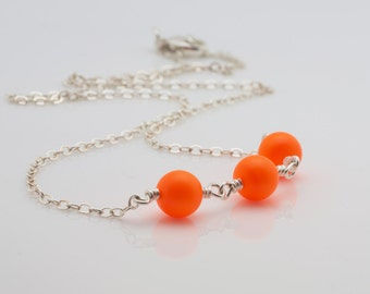 Neon Orange Swarovski Pearl Necklace, Wire Wrapped Necklace