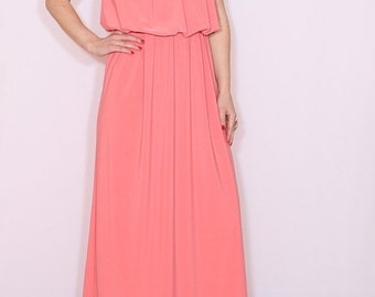 SALE Coral maxi dress bridesmaid dress Long dress Salmon pink Maxi dress