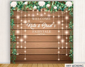 Rustic Wedding Backdrop, Floral Backdrop, Step And Repeat Backdrop Engagement Party, Wedding Decor, Printed Or Digital File BWD0015