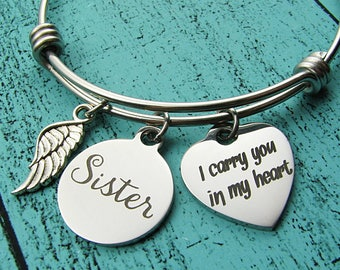 loss of loved one sister, sympathy gift bracelet memorial, remembrance gift, in loving memory, mourning jewelry, grief gift, thinking of you