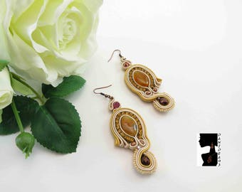 Earrings soutaches Hard Stone agate-soutaches earrings-stone earrings-agate-gift for her-gift for her-Valentine