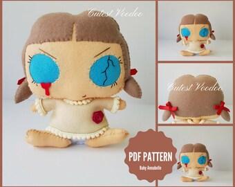 PDF PATTERN. Baby Annabelle Horror Gothic Doll PDF Felt Sewing Pattern