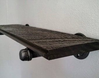 Industrial pipe Shelf, reclaimed wood shelf, barnwood Pipe Shelf, Includes brackets and barn wood