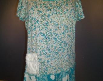Upcycled t-shirt dress, Size XL-1X, boho, cottage chic, urban prairie,upcycledclothing dress