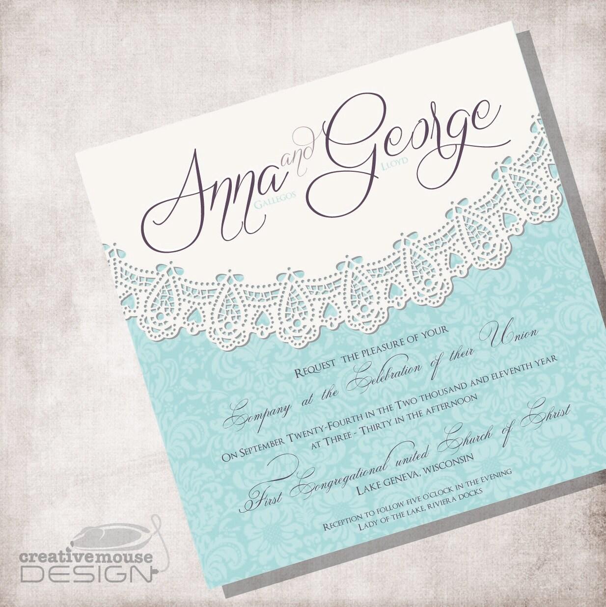 Lace Vintage Wedding Invitation DIY Printable FILE ONLY