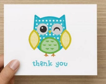 Baby thank you card: Personally designed baby boy baby shower thank you card!  Baby owl.  Multiple pack sizes available.