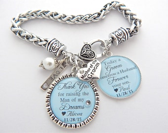 MOTHER of the GROOM Gift, Mother of the Groom BRACELET, Mother in law Gift, Mother of the Bride Gift Thank you for raising man of dreams