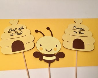 Bumble Bee Cupcake Toppers, Baby Shower, Gender Reveal, Mommy to Bee