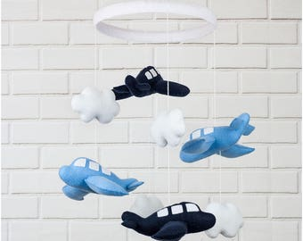 Felt Baby Nursery Mobile with Blue Airplanes and Clouds,Perfect Gift, Baby shower, Cot mobile, Nursery decoration, Airplanes lovers