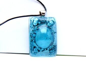 Bubbles Turquoise Fusing glass Rectangle pendant