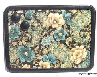 Chocolate and Blue Paisley Flowers Magnet Board Bulletin Board 8x11 Message Board  Comes with 4 Button MagnetSs Kitchen Dorm Decor