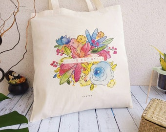 Tote bag organic flowers, life is beautiful floral illustration tote bag, colorful spring, Peony, grocery bag